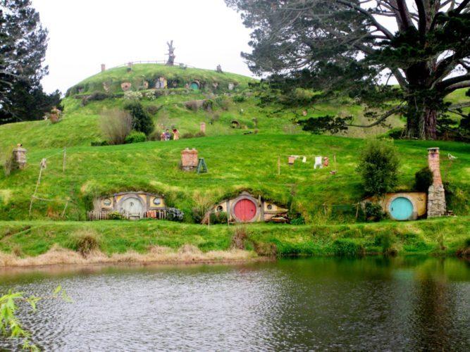 alt=New Zealand, Hobbiton movie set, hobbits