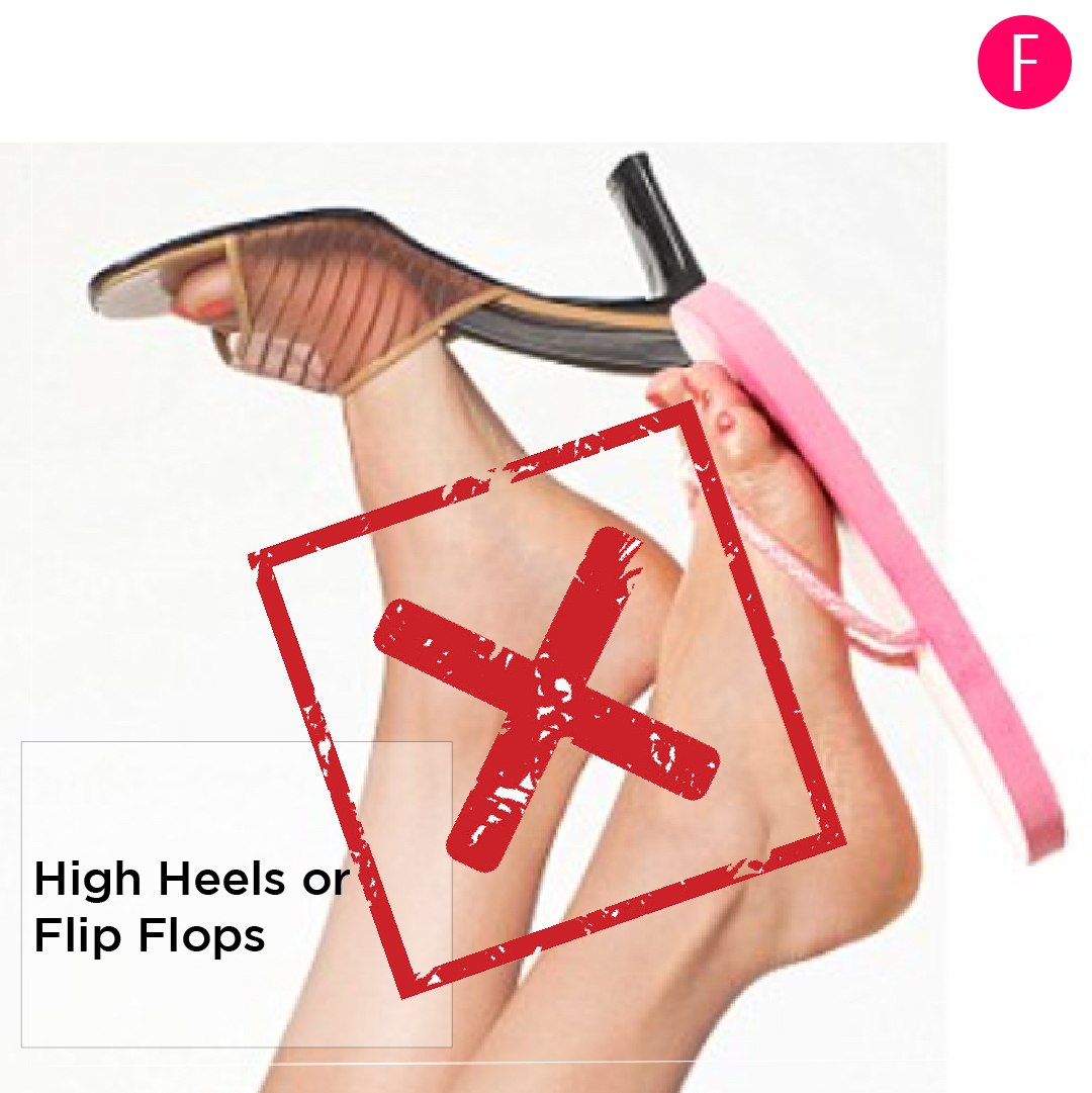 travel shoes, high heels, flip flops