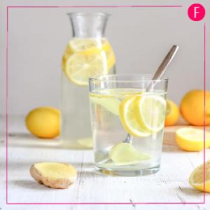 Detox water, lemon and ginger water, lemon water