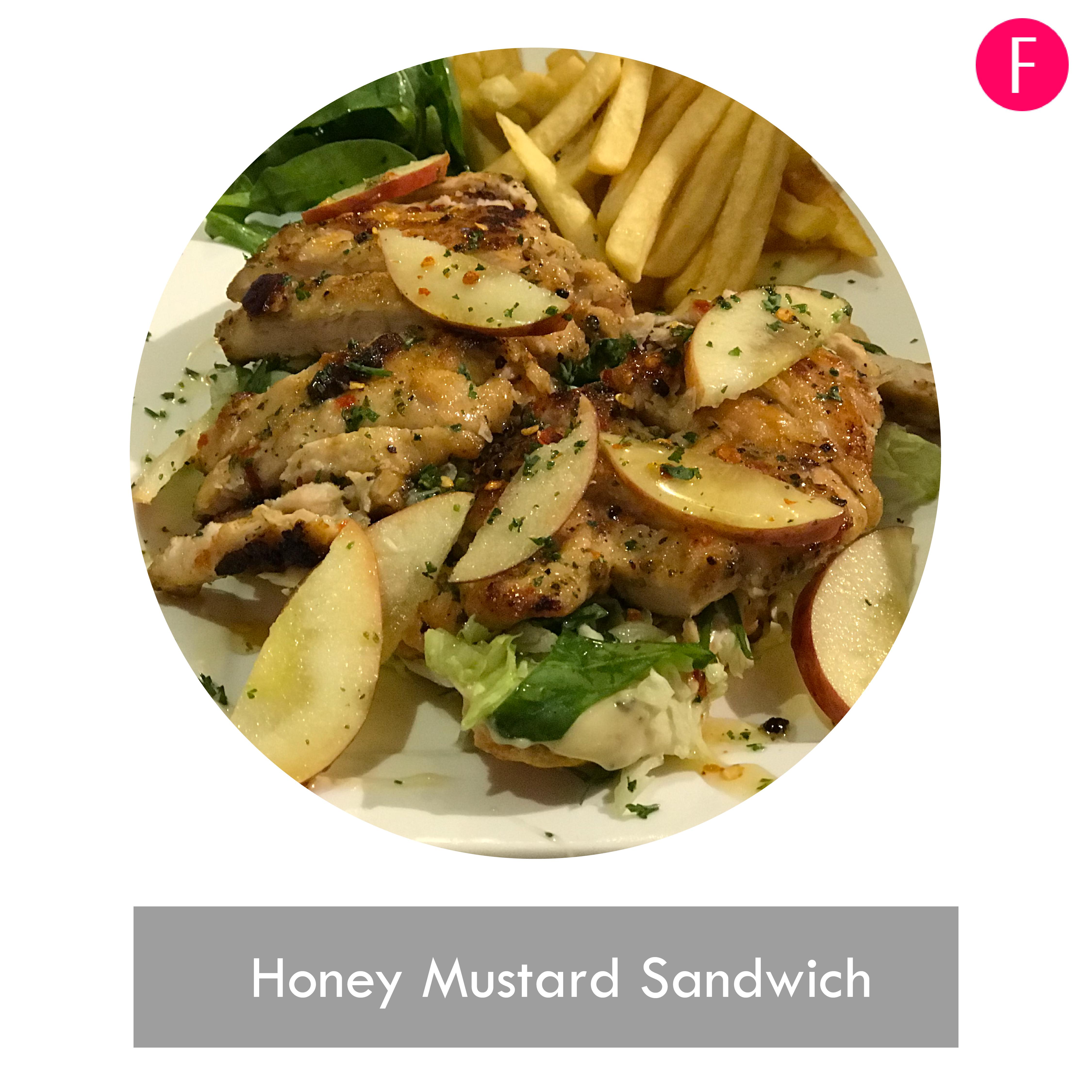 Honey mustard sandwich, open faced sandwich, Vintage cafe