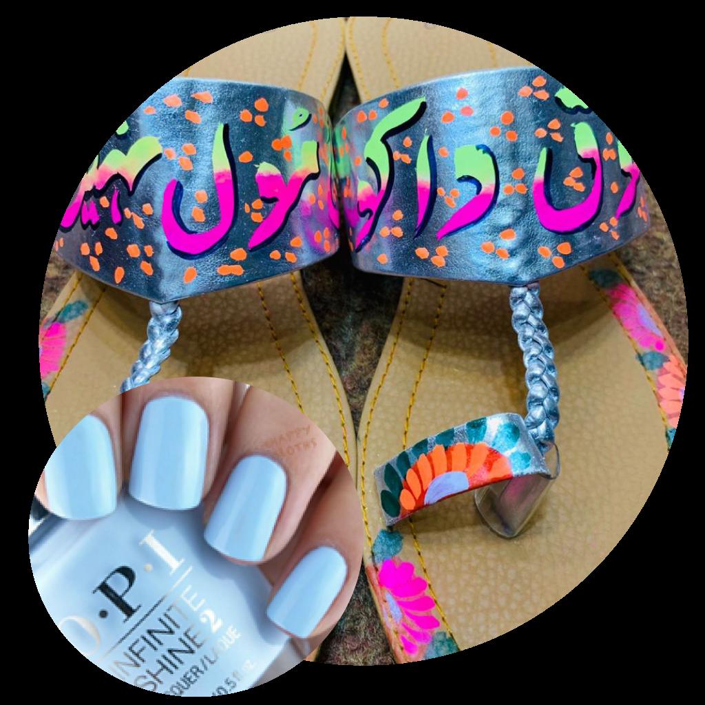 Truck Art, Truck Art Chapals, Blue Chapals, Khussa Chapals, Pakistani footwear, Eid Shopping