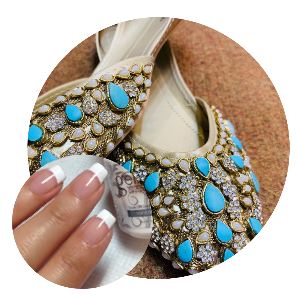 French Manicure, Blue embellished Khussas, Blue Khussas, Tradiotional Pakistani Footwear, Eid Shopping