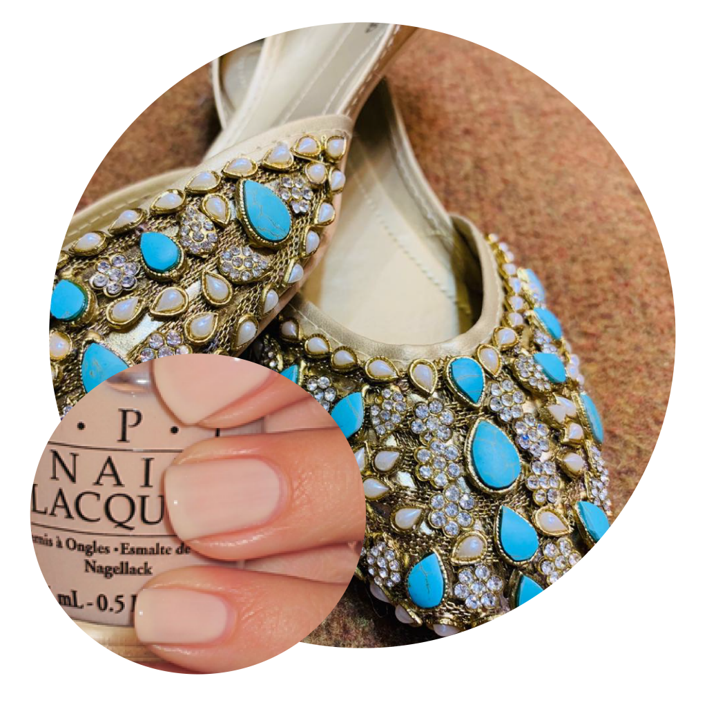 Nude Nail polish, Blue embellished Khussas, Blue Khussas, Tradiotional Pakistani Footwear, Eid Shopping