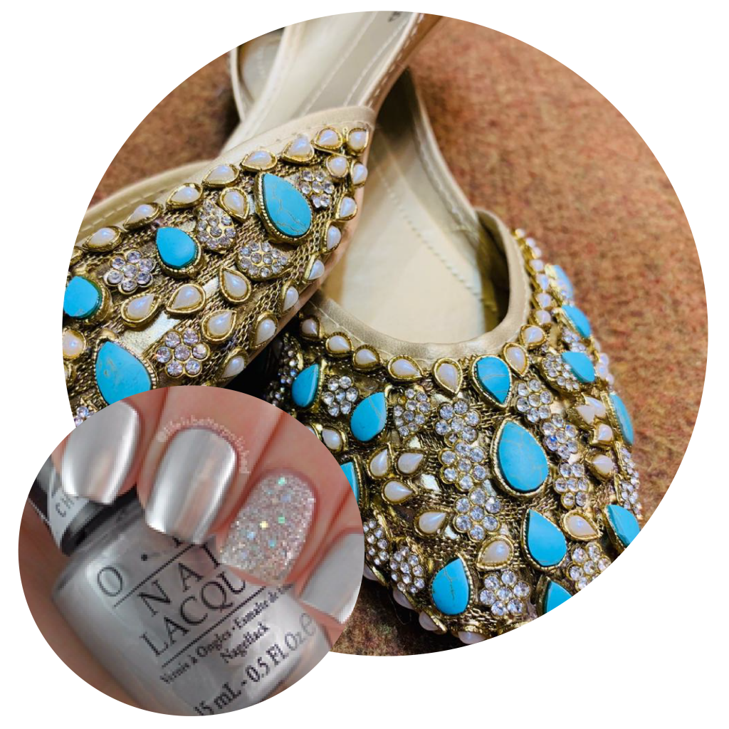 Silver Nail Color, Blue embellished Khussas, Blue Khussas, Tradiotional Pakistani Footwear, Eid Shopping