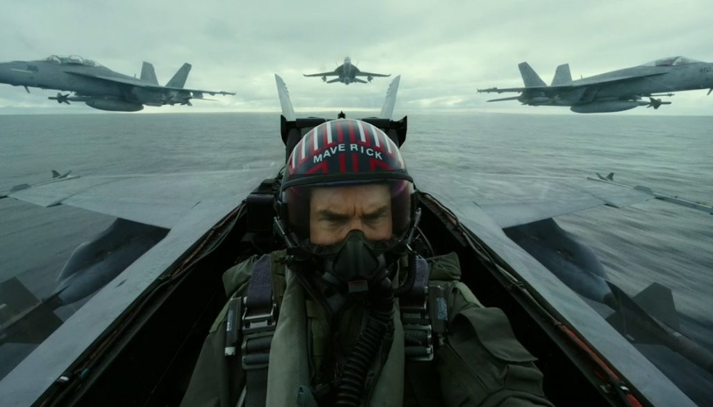 Tom Cruise flying a fighter jet in Top Gun 2