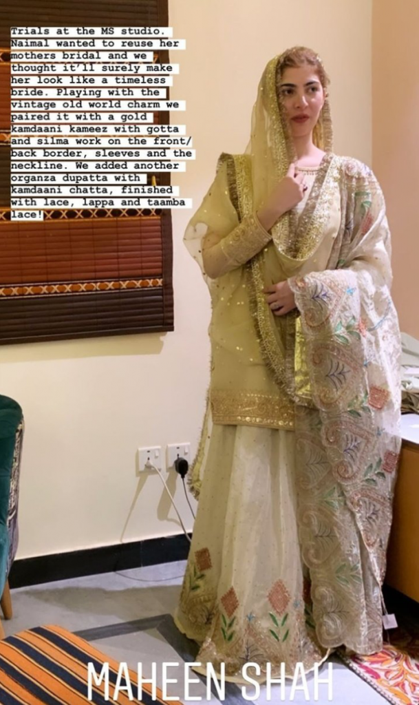 naimal khawar wearing her mother's wedding dress