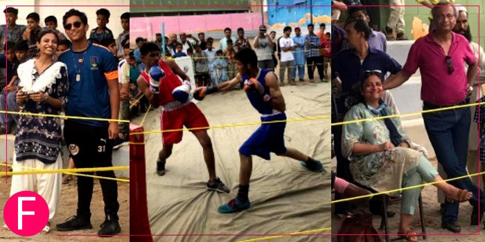 exhibition boxing match at Sarbazi Health & Boxing club in Lyari