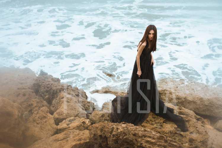 Flowing black dress, amina yasmin, javeria, mansur akram