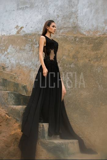 Black dress, long black dress, black dress against brown , black dress on thersteps