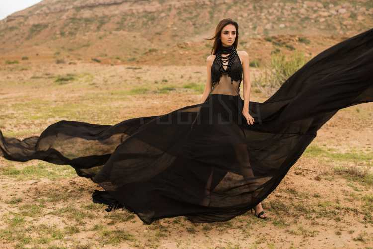 The flowing black dress, black dress blowing in the wind, javeria, pakistani designers, western designs