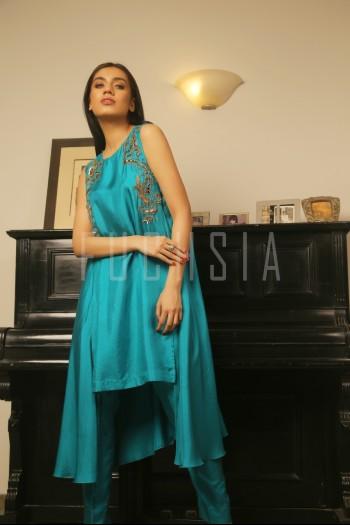 Long aqua dress