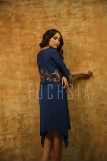Long dark blue dress