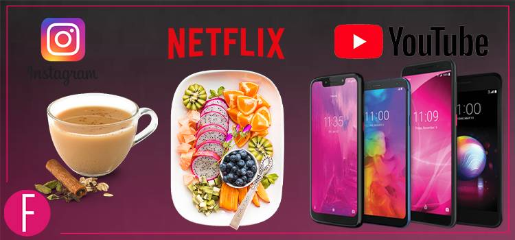 chai, smart phone, netflix, youtube