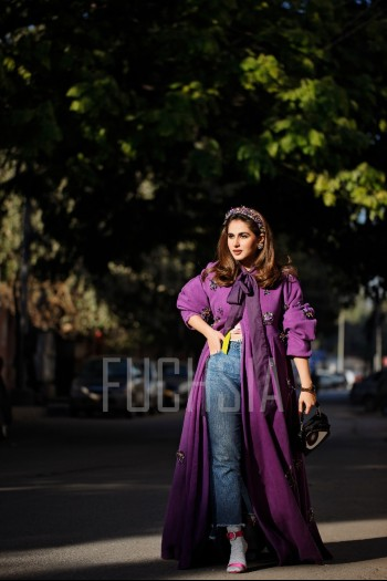 Purple gown, denim jeans