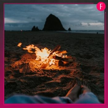 bonfire, beach, sand, water