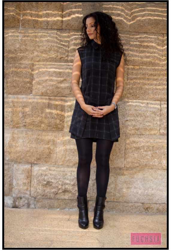 black dress, black boots
