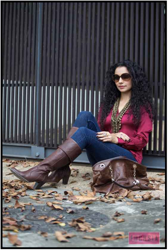 brown boots, brown bag, brown sunglasses