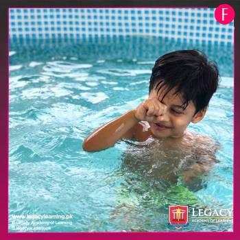 Swimming pool. child in swimming pool