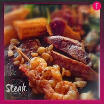 Steak , shrimps, shrimps and steak