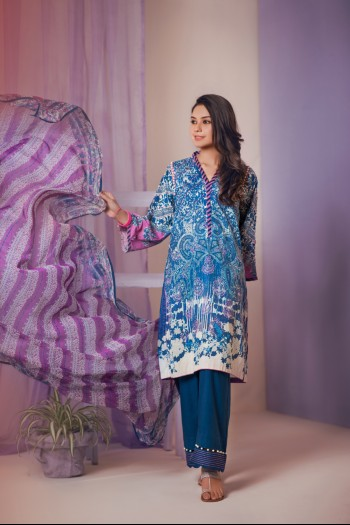Lavender Chiffon dupatta, blue shirt, 3 piece suits