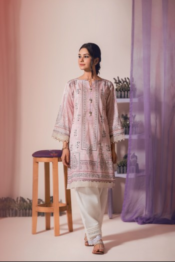Cotton kurta with edging, white shalwar