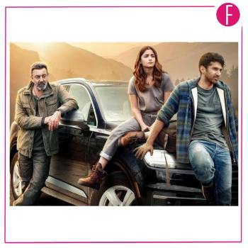 three people on a car, bollywood celebrities, movie poster