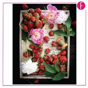 strawberries, organization, flower, thread, food