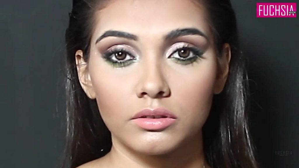 eye makeup, green eye shadow, eyeliner, winged liner
