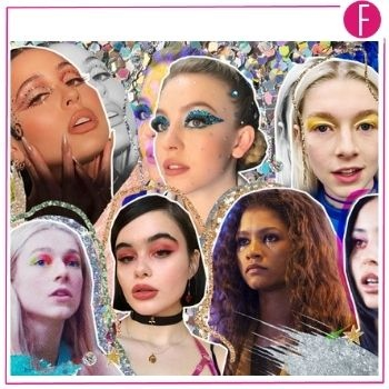 euphoria cast. iconic, makeup looks, zendaya, jenny davy
