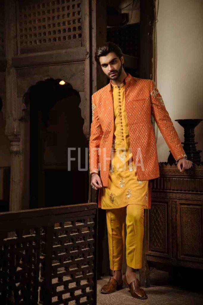 photoshoot, designer wear. menswear, fashion, style inspo, fashion inspo, orange, yellow, mehndi, inspo, inspiration, fashion, kurta, coat