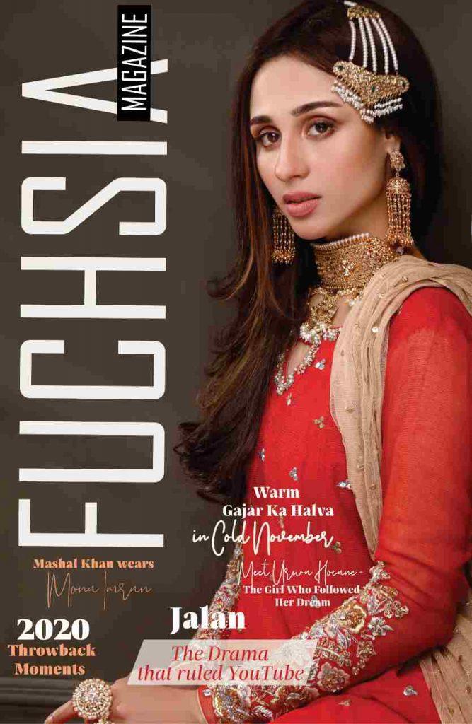 mashal khan. cover article, cover shoot, jalan, 2020, fuchsia, november, mona imran, jewelry, winter fashion, fashion inspo