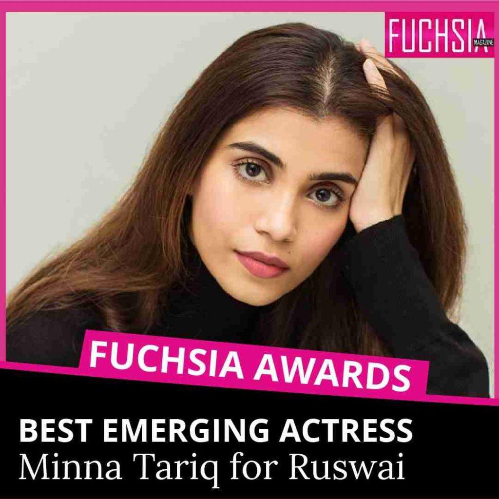 minna tariq, wardah, ruswai, ary digital, pakistani drama, best emerging actress, fuchsia awards
