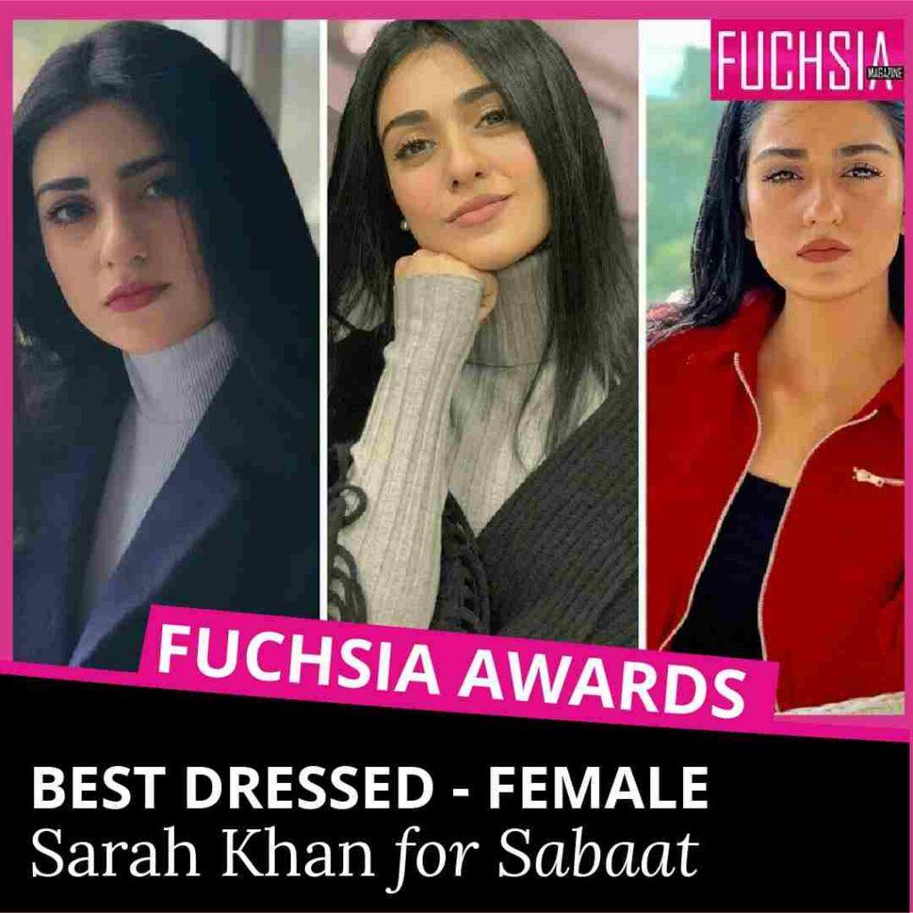 best dressed female, best dressed, sabaat, sarah khan, fuchsia magazine, fuchsia awards, awards 2020