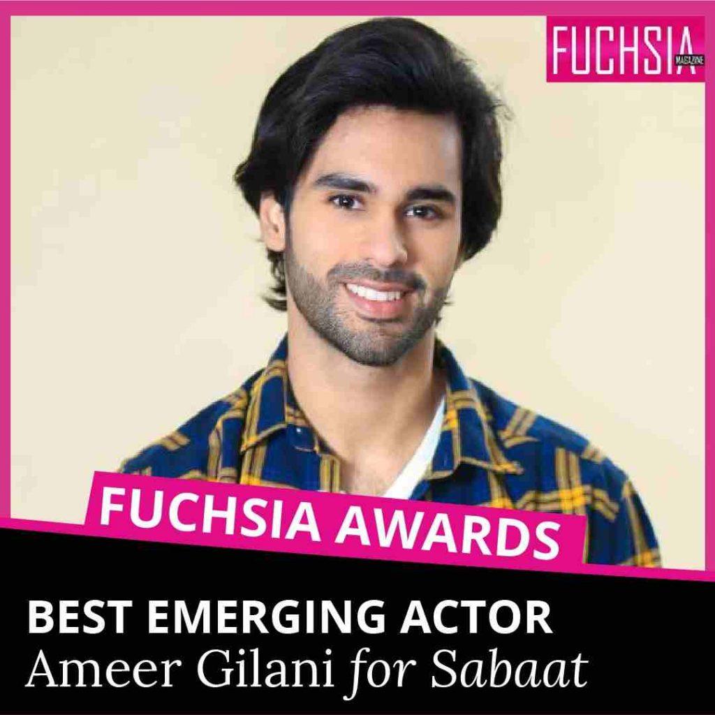 sabaat, ameer gilani, best emerging actor, hum tv, fuchsia awards