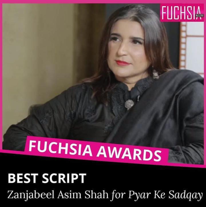 pyrar ke sadqay, mahjabeen, abdullah, bilal abbas khan, yumna zaidi, fuchsia magazine, awards 2020, best script, zanjabeel asim shah
