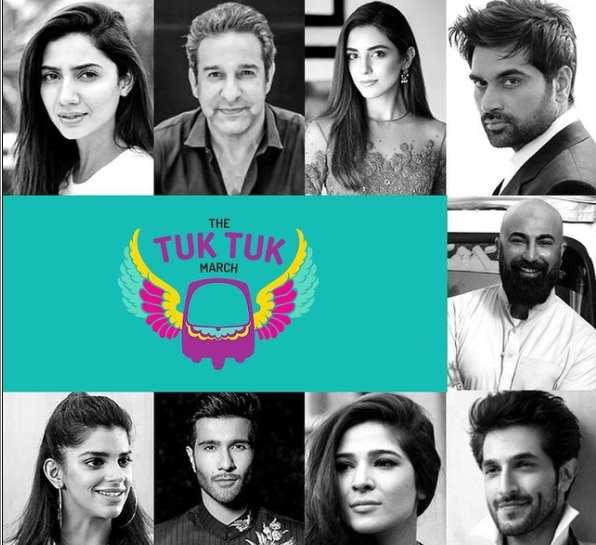 shy, tuktuk march, maya ali, mahira khan, wasim akram, humayun saeed, sanam saeed, feroze khan, ayesha omar, bilal ashraf