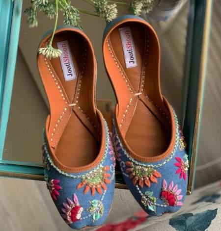 denim shoes, denim, embroidery, jooti shooti