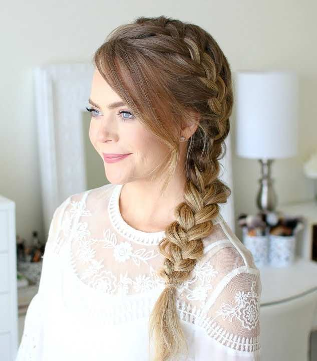side braid, side french braid, side braids heatless hairstyle, quick hairstyle
