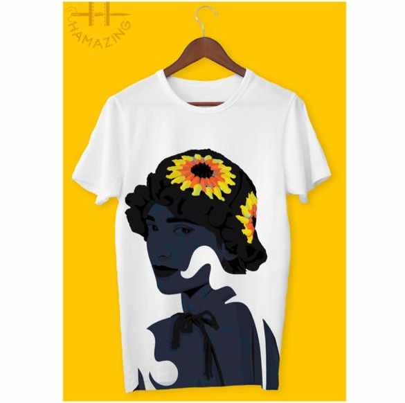 digital artwork whote t shirt and sun flowers