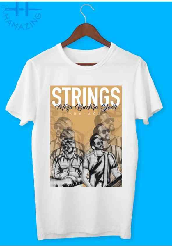T shirt white with strings artwork