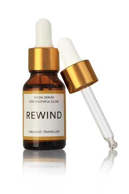 rewind, facial serum, organic traveller, skincare